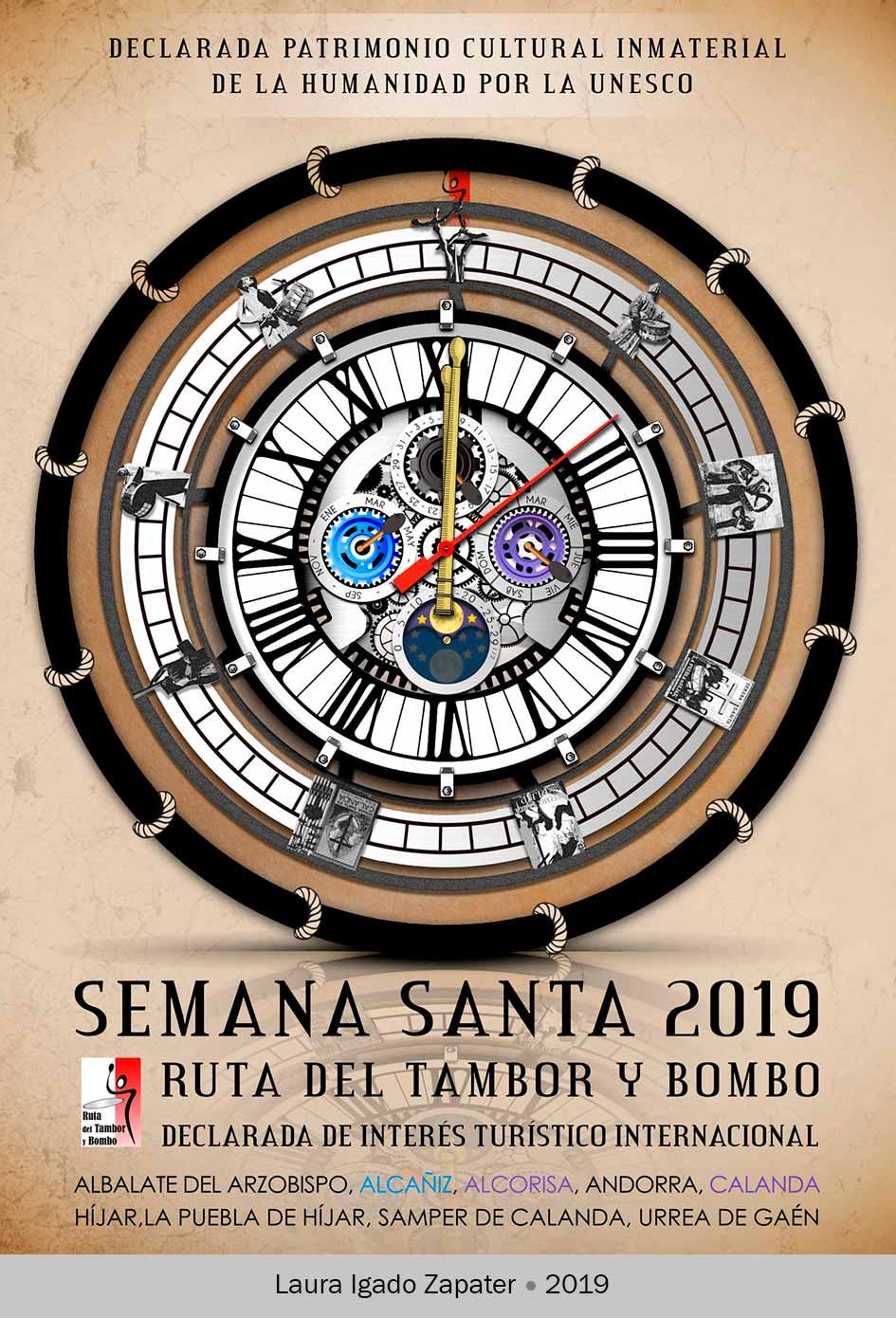 Cartel ganador del Concurso Semana Santa 2019 Ruta del Tambor y Bombo. Laura Igado Zapater